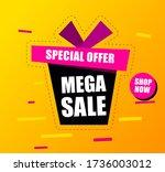 banner mega sale  black gift... | Shutterstock .eps vector #1736003012
