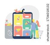 online grocery shopping concept....   Shutterstock .eps vector #1736018132