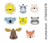 set of cute cartoon animal... | Shutterstock .eps vector #1736033378