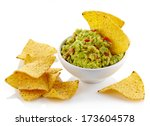 Bowl Of Guacamole Dip And...