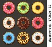 set of tasty donuts    Shutterstock .eps vector #173606432