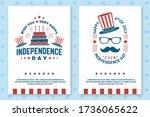 set of vintage 4th of july... | Shutterstock .eps vector #1736065622