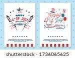 set of vintage 4th of july... | Shutterstock .eps vector #1736065625