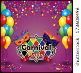carnival masks with balloons... | Shutterstock .eps vector #173608496