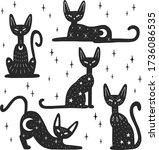 set of mystery black cats.... | Shutterstock .eps vector #1736086535