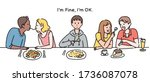 a couple is eating noodles... | Shutterstock .eps vector #1736087078