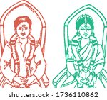 drawing or sketch of bride and...   Shutterstock .eps vector #1736110862