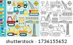 set of construction vehicles...   Shutterstock .eps vector #1736155652