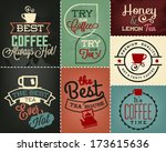 collection of coffee and tea... | Shutterstock .eps vector #173615636