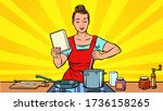 a woman cooks in the kitchen.... | Shutterstock .eps vector #1736158265