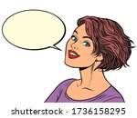 beautiful woman smile. pop art... | Shutterstock .eps vector #1736158295