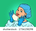female doctor putting on a... | Shutterstock .eps vector #1736158298