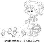 girl feeds a brood of small... | Shutterstock .eps vector #173618696