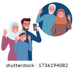 a muslim family consisting of...   Shutterstock .eps vector #1736194082