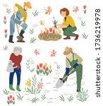 men and women watering plants.... | Shutterstock .eps vector #1736219978