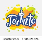 toronto city text design with... | Shutterstock .eps vector #1736221628