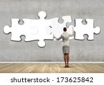 rear view of businesswoman... | Shutterstock . vector #173625842