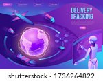 isometric delivery service with ... | Shutterstock .eps vector #1736264822