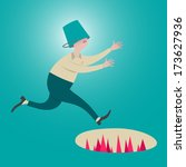 male running with a bucket head.... | Shutterstock .eps vector #173627936