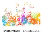 a multi colored floral... | Shutterstock .eps vector #1736330618