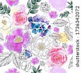 watercolor flowers seamless... | Shutterstock .eps vector #1736342072