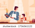 cheerful dad and son cooking... | Shutterstock .eps vector #1736361122