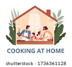 a cheerful family stays at home ... | Shutterstock .eps vector #1736361128
