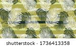 tropical pattern  graphic palm... | Shutterstock .eps vector #1736413358
