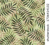 tropical pattern  palm leaves... | Shutterstock .eps vector #1736414132