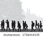 crowd of people silhouettes... | Shutterstock .eps vector #1736414135