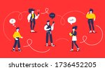 man and woman chatting...   Shutterstock .eps vector #1736452205