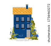 Cute Blue House With A Yellow...