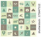 camping icon set | Shutterstock .eps vector #173647112