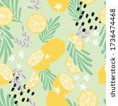 fruit seamless pattern  lemons... | Shutterstock .eps vector #1736474468
