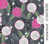 fruit seamless pattern  dragon... | Shutterstock .eps vector #1736478785