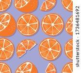 fruit seamless pattern  oranges ... | Shutterstock .eps vector #1736481692