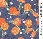 fruit seamless pattern  oranges ... | Shutterstock .eps vector #1736483885
