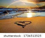 Rainbow At Sunset Sea And Heart ...