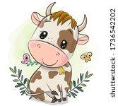 cute cartoon little bull on a... | Shutterstock .eps vector #1736542202