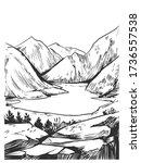 wild natural landscape.... | Shutterstock .eps vector #1736557538