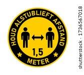 houd alstublieft afstand 1 5... | Shutterstock .eps vector #1736567018