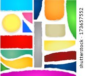 collection of colorful torn... | Shutterstock .eps vector #173657552