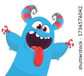 funny cartoon monster creature. ... | Shutterstock .eps vector #1736576042
