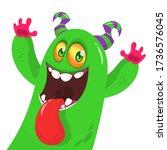 funny cartoon monster creature. ... | Shutterstock .eps vector #1736576045