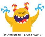 funny cartoon monster creature. ... | Shutterstock .eps vector #1736576048
