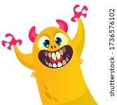 funny cartoon monster creature. ... | Shutterstock .eps vector #1736576102