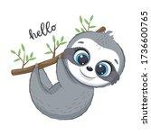 cute sloth illustration. vector ...   Shutterstock .eps vector #1736600765