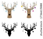 deer with christmas toys on the ... | Shutterstock .eps vector #1736615888