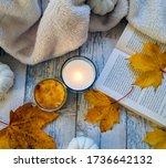 Autumnal Composition On Blue...