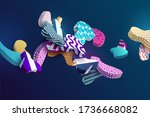 multi colored decorative 3d... | Shutterstock .eps vector #1736668082